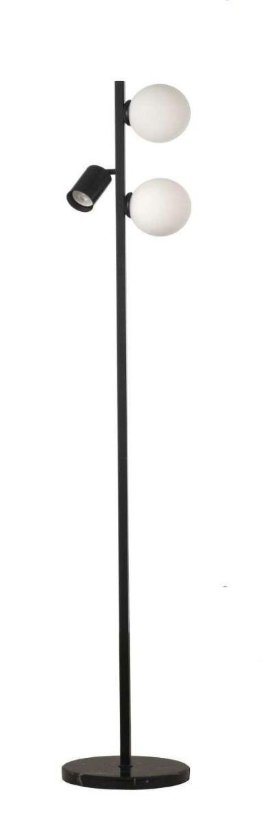 Φωτιστικό δαπέδου 3φωτο μεταλλικό μαύρο με λευκές οπαλίνες 30x155cm InLight 45381