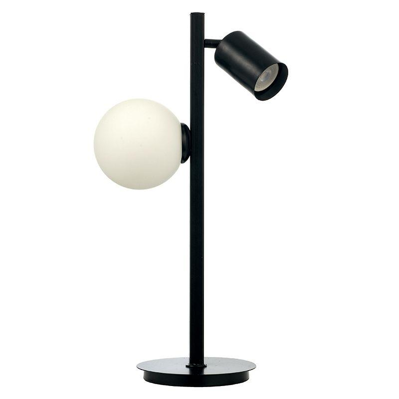 Φωτιστικό επιτραπέζιο 2φωτο μεταλλικό μαύρο με λευκή οπαλίνα 30x53cm InLight 3466