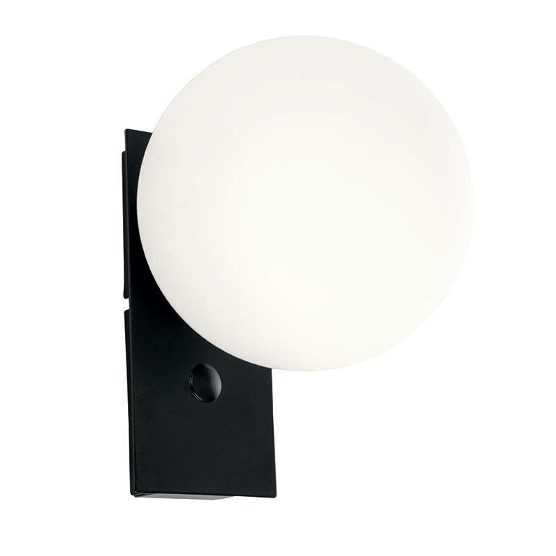 Απλίκα μονόφωτη μεταλλική με οπαλίνα μαύρη/λευκή 14x20cm InLight 43407