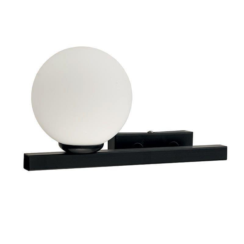 Απλίκα μονόφωτη μεταλλική με οπαλίνα μαύρη/λευκή 30x17cm InLight 43408-L