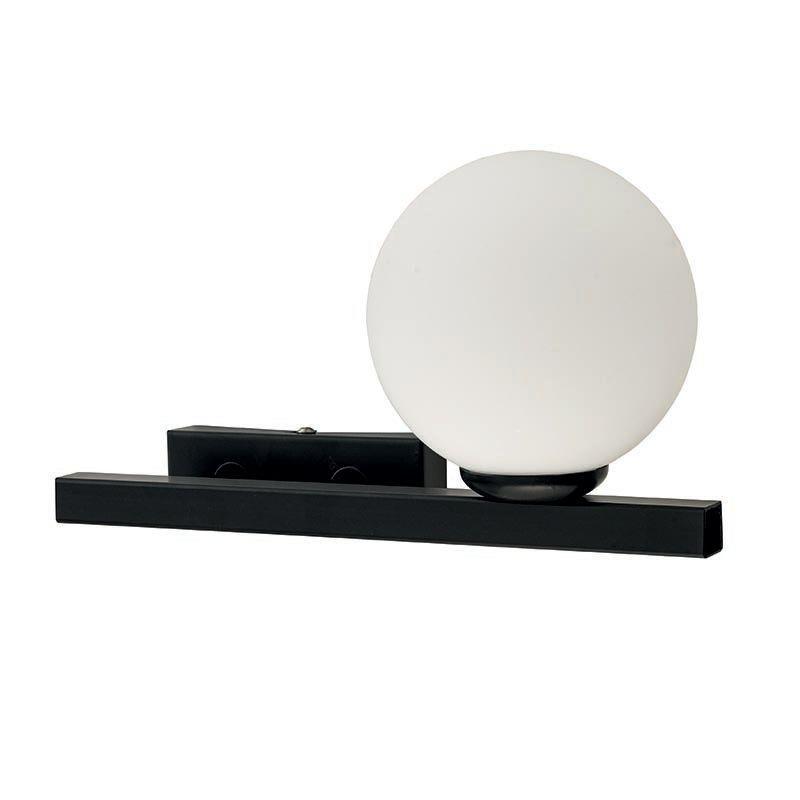 Απλίκα μονόφωτη μεταλλική με οπαλίνα μαύρη/λευκή 30x17cm InLight 43408-R