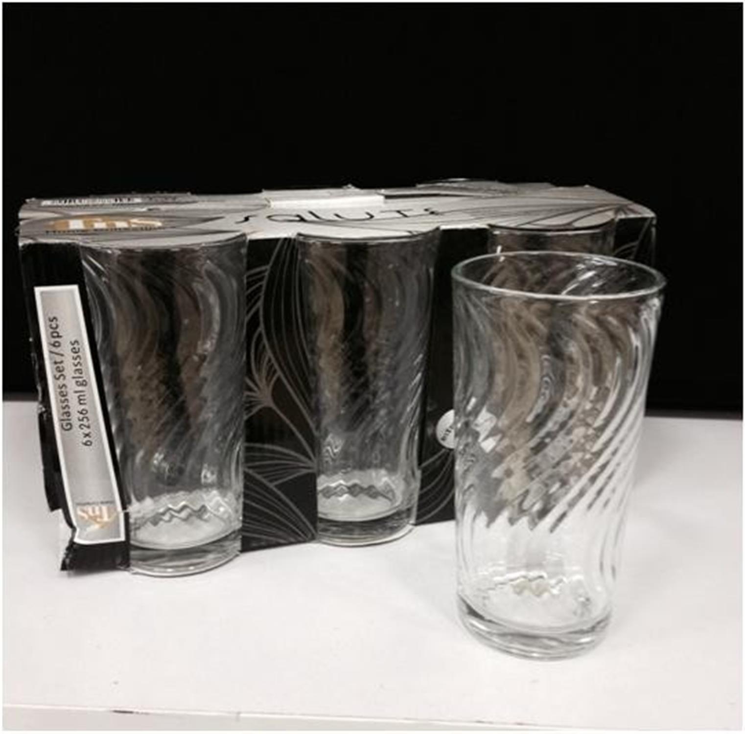Σετ 6 γυάλινα ποτήρια σωλήνες σκάλισμα