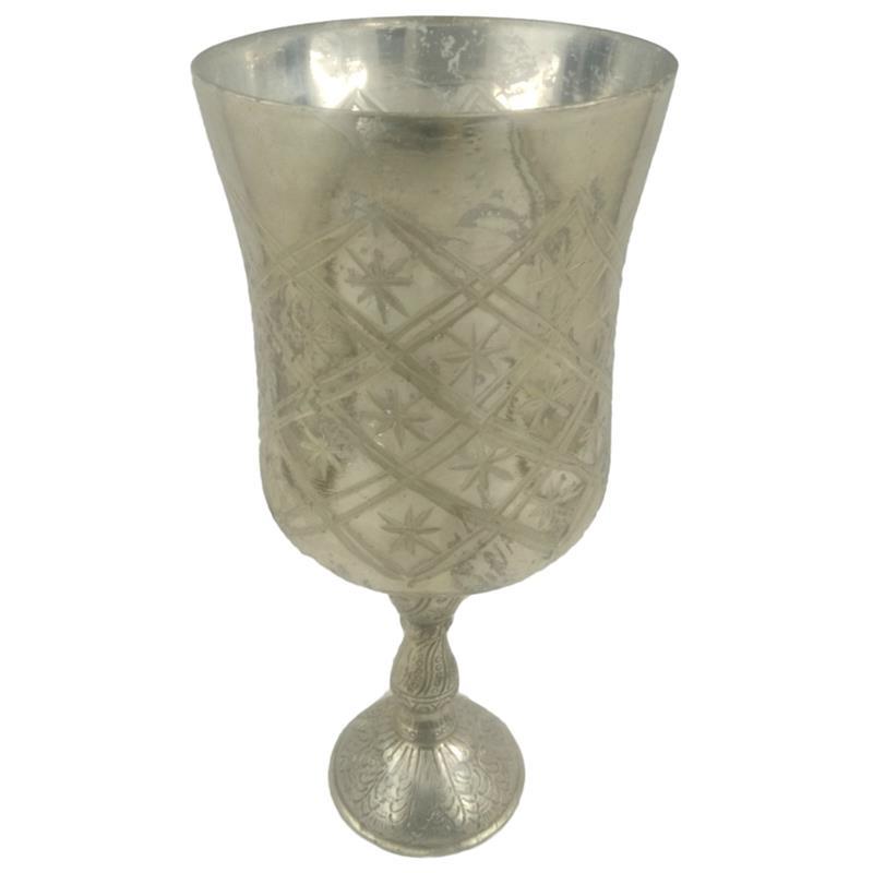 Κηροπήγιο γυάλινο/μεταλλικό ασημί 11×26.5cm Inart 3-70-571-0127
