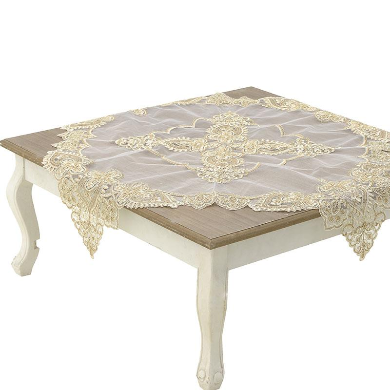 Καρέ με δαντέλα vintage μπεζ 100% polyester 85x85cm Inart 3-40-240-0066