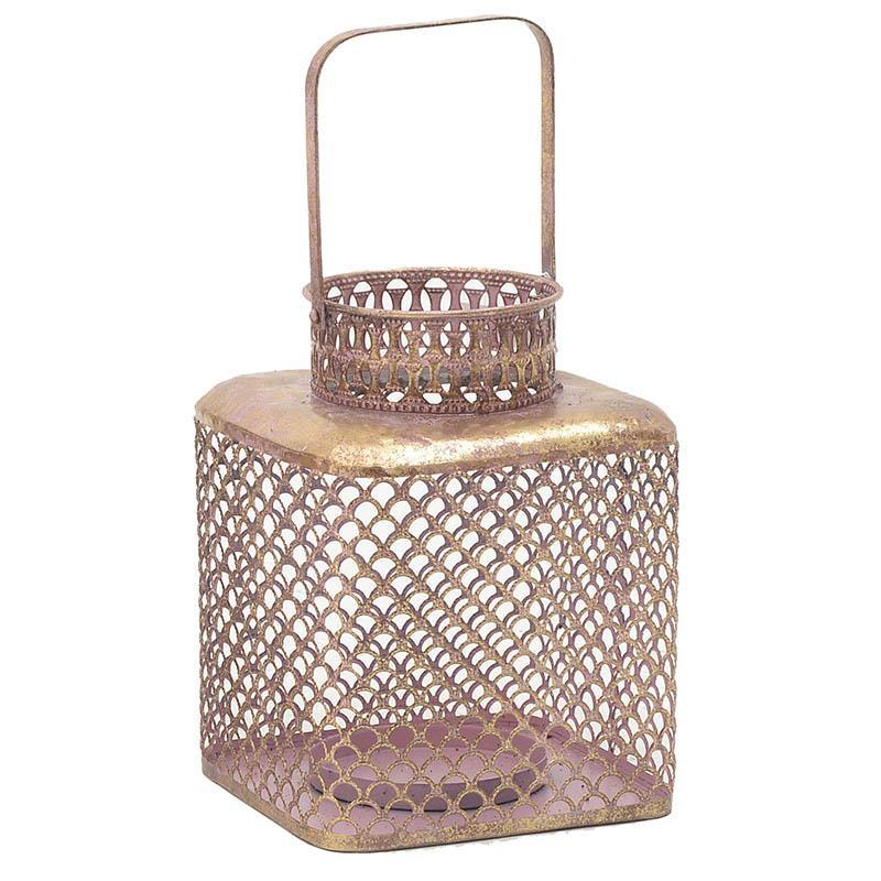 Φανάρι μεταλλικό αντικέ ροζ/χρυσό 19x19x25.5cm Inart 3-70-669-0029
