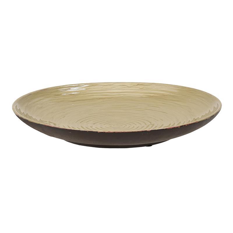 Πιατέλα διακοσμητική κεραμική κρεμ/χρυσή 34x5cm Inart 3-70-685-0181