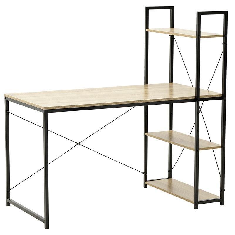 Γραφείο/Ραφιέρα μεταλλικό/ξύλινο μαύρο/natural 120x64x120cm Inart 6-50-470-0015 έπιπλα   έπιπλα γραφείου   γραφεία εργασίας