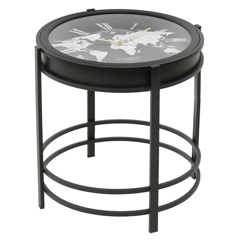 Τραπέζι/Ρολόι μεταλλικό μαύρο 42x42x41cm Inart 3-20-104-0074