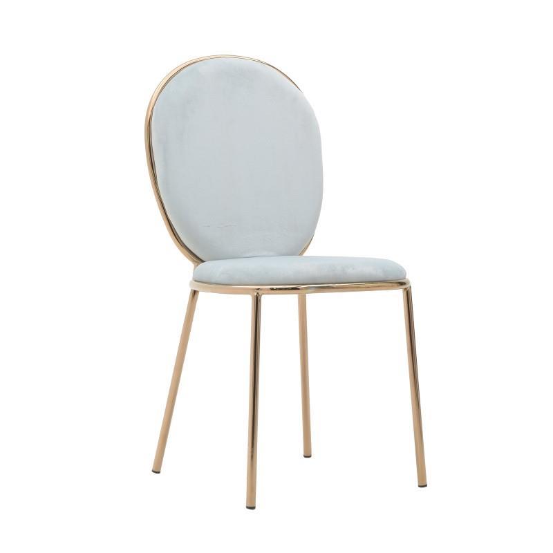 Καρέκλα μεταλλική/βελούδινη γκρι/γαλάζια 44x53x90cm Inart 3-50-420-0007