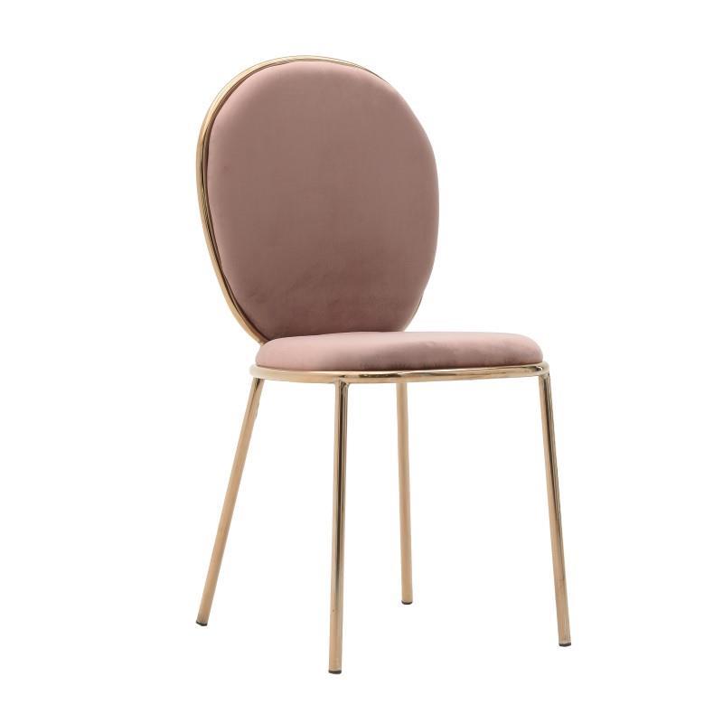 Καρέκλα μεταλλική/βελούδινη σομόν 44x53x90cm Inart 3-50-420-0008