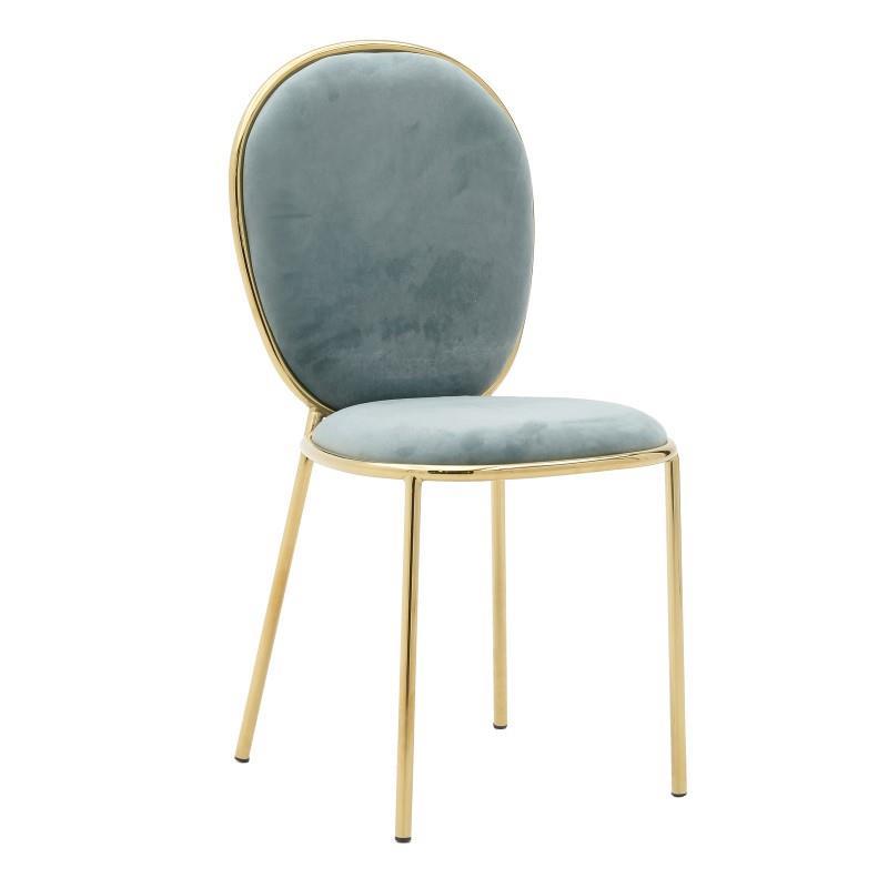 Καρέκλα μεταλλική/βελούδινη πράσινη 44x53x90cm Inart 3-50-420-0009