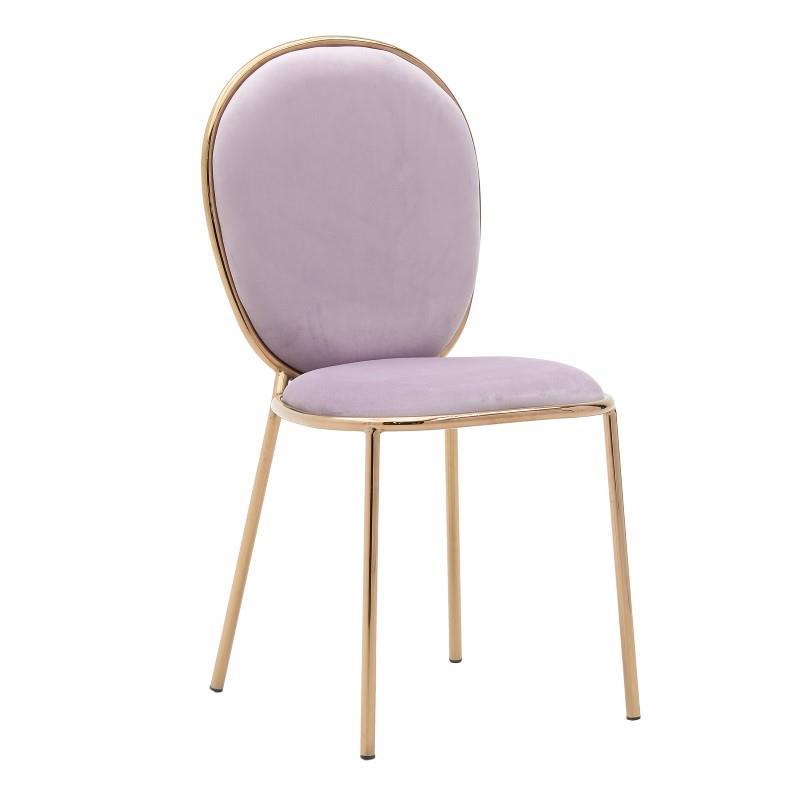 Καρέκλα μεταλλική/βελούδινη ροζ 44x53x90cm Inart 3-50-420-0010