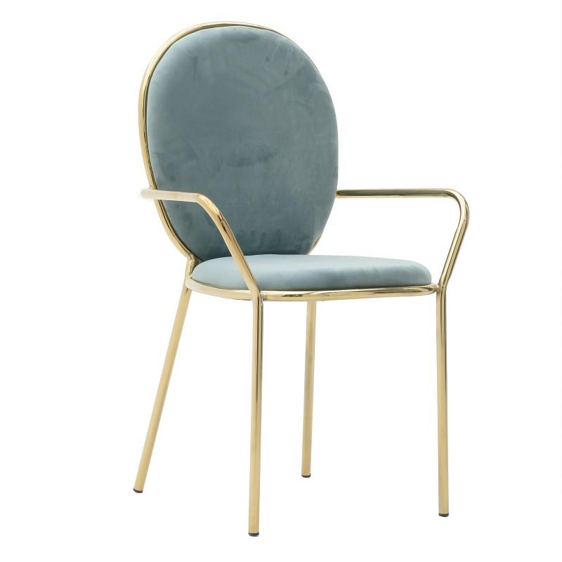 Καρέκλα μεταλλική/βελούδινη πράσινη 57x54x90cm Inart 3-50-420-0005