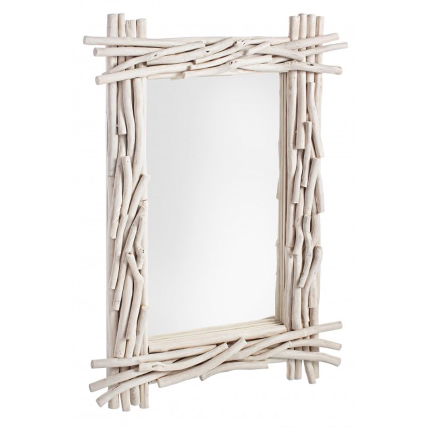Καθρέπτης τοίχου ξύλινος ορθογώνιος εκρού 60x6x90cm