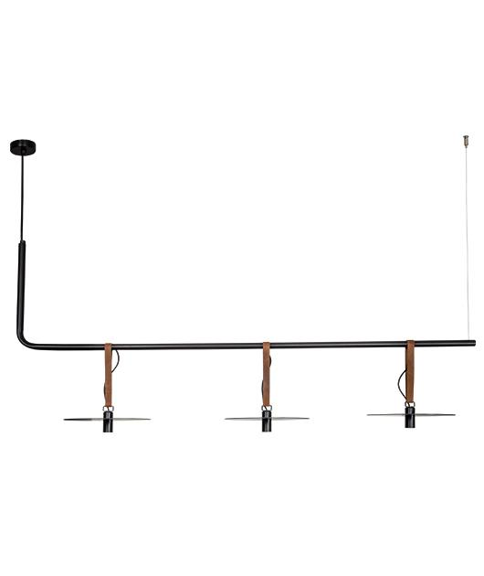 Φωτιστικό οροφής κρεμαστό 3φωτο με LED μαύρο/καφέ 140x26x63cm Zambelis Lights 18138-B