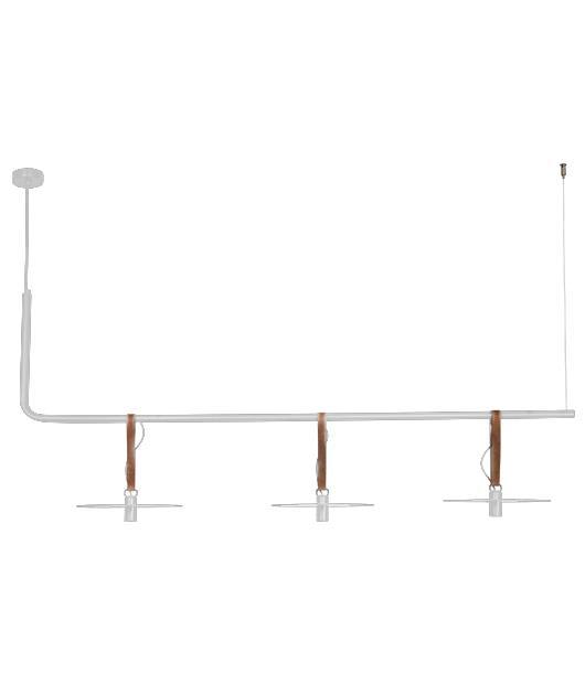Φωτιστικό οροφής κρεμαστό 3φωτο με LED λευκό/καφέ 140x26x63cm Zambelis Lights 18138-W
