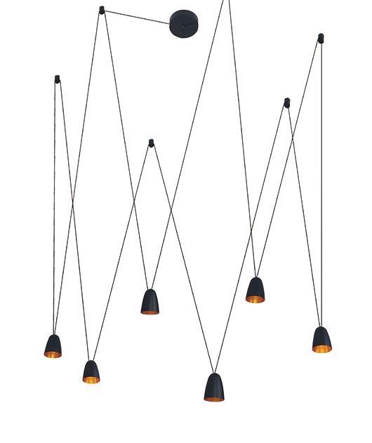 Φωτιστικό οροφής κρεμαστό 6φωτο με LED μαύρο 120cm Zambelis Lights 18151
