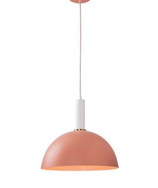 Φωτιστικό οροφής κρεμαστό μονόφωτο σομόν/λευκό 35cm Zambelis Lights 180050