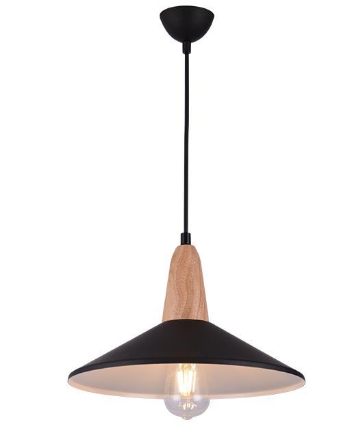 Φωτιστικό οροφής κρεμαστό μονόφωτο μαύρο/καφέ 33cm Zambelis Lights 180085