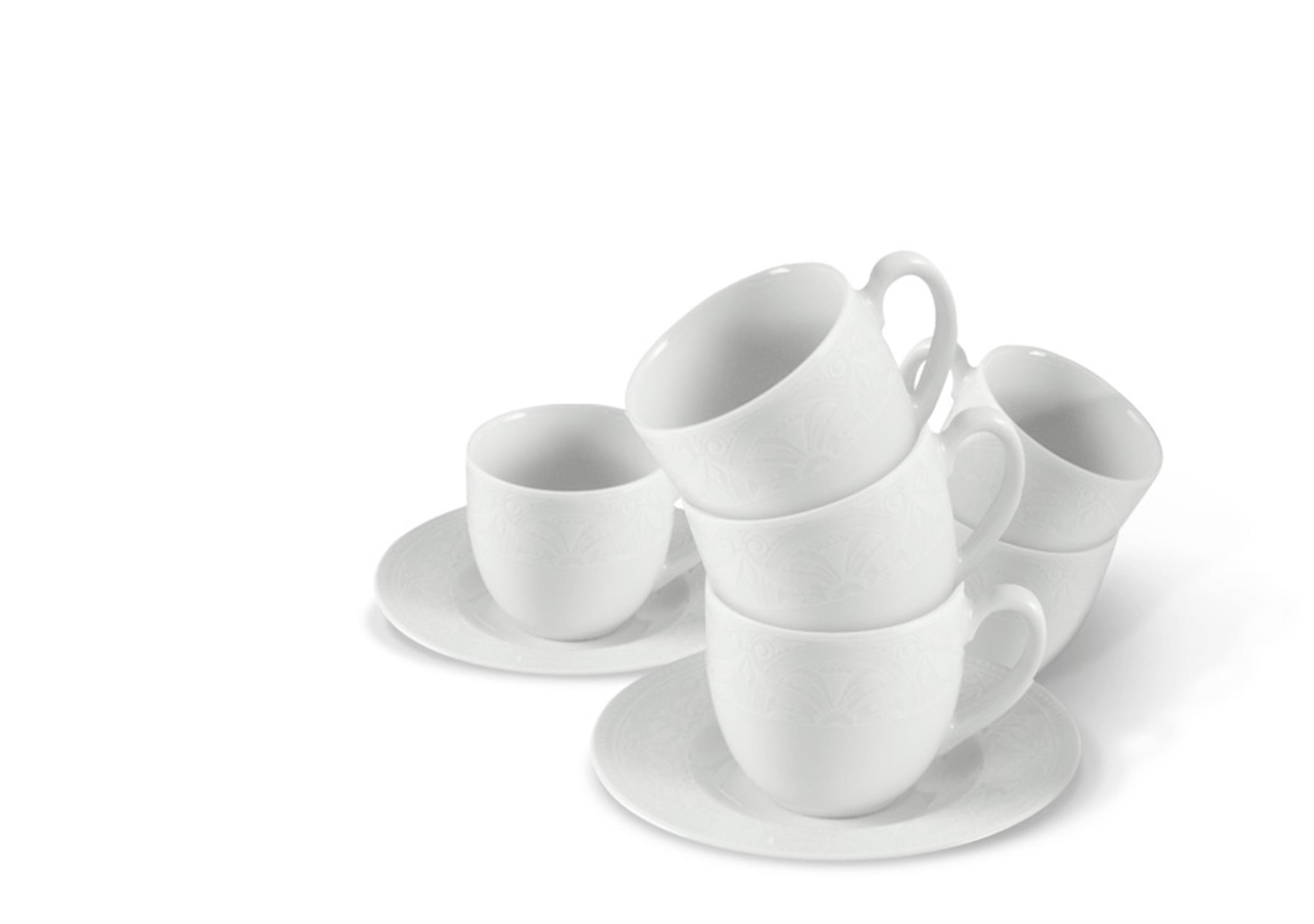 Φλιτζάνι καφέ με πιατάκι σετ 6 τεμαχίων από πορσελάνη Nostalgia ΙΩΝΙΑ