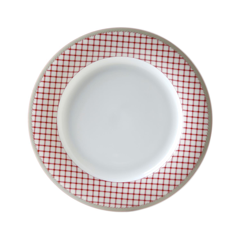 Πιάτο ρηχό στρογγυλό 22cm από πορσελάνη καρό Εξοχή ΙΩΝΙΑ