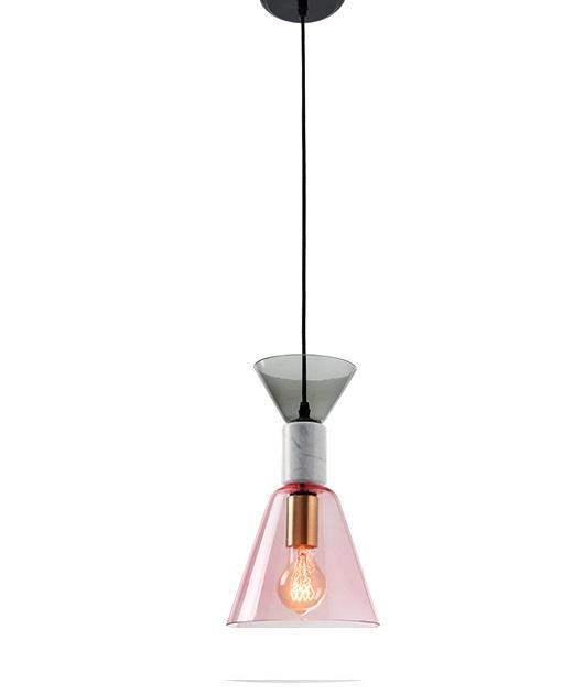 Φωτιστικό οροφής κρεμαστό μονόφωτο γυάλινο/μαρμάρινο ροζ 131cm Zambelis Lights 18147