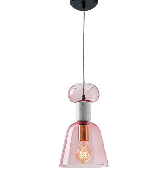 Φωτιστικό οροφής κρεμαστό μονόφωτο γυάλινο/μαρμάρινο ροζ 130cm Zambelis Lights 18146
