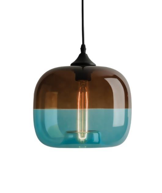 Φωτιστικό οροφής κρεμαστό μονόφωτο γυάλινο καφέ/μπλε 120cm Zambelis Lights 1575
