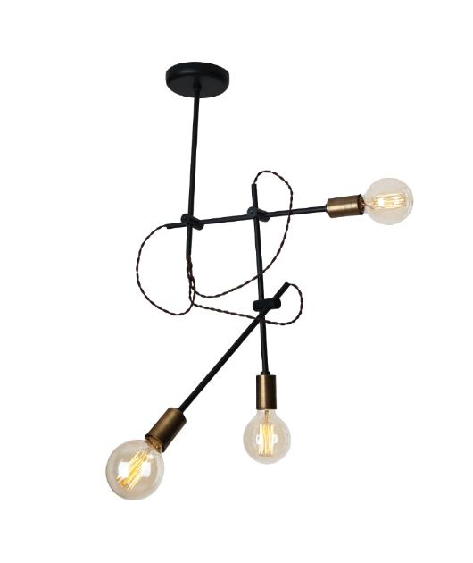 Φωτιστικό οροφής/πλαφονιέρα 3φωτο μεταλλικό μαύρο/μπρονζέ 90x55cm Zambelis Lights 1593