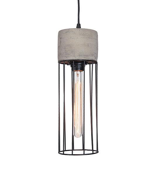 Φωτιστικό οροφής κρεμαστό μονόφωτο μπετό μαύρο/γκρι 136x12cm Zambelis Lights 1660