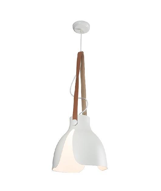 Φωτιστικό οροφής κρεμαστό μονόφωτο με δέρμα λευκό/καφέ 130x30cm Zambelis Lights 17071