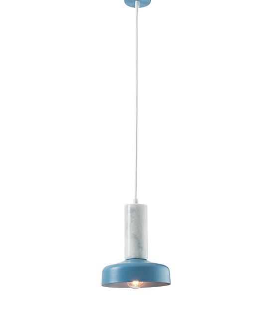 Φωτιστικό οροφής κρεμαστό μονόφωτο μαρμάρινο λευκό/μπλε 119×17.5cm Zambelis Lights 18166