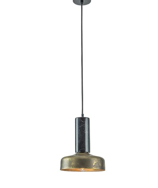 Φωτιστικό οροφής κρεμαστό μονόφωτο μαρμάρινο μαύρο/μπρονζέ 119×17.5cm Zambelis Lights 18165