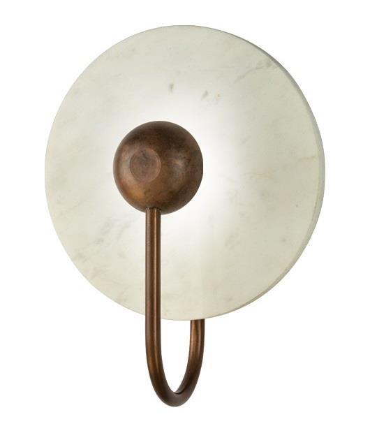 Απλίκα με Led μαρμάρινη λευκή/καφέ 20cm Zambelis Lights 18170