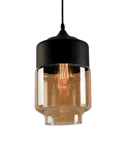 Φωτιστικό οροφής κρεμαστό μονόφωτο γυάλινο μαύρο/μελί 150x18cm Zambelis Lights 1517