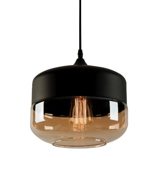 Φωτιστικό οροφής κρεμαστό μονόφωτο γυάλινο μαύρο/μελί 143x24cm Zambelis Lights 1516