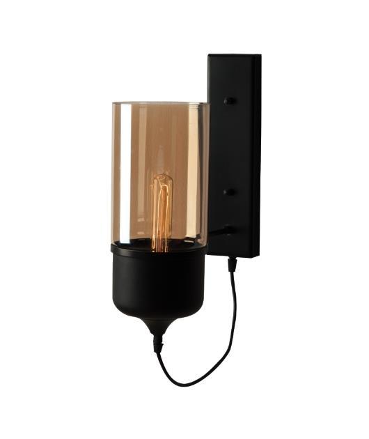 Απλίκα μονόφωτη γυάλινη μαύρη/μελί 40x29cm Zambelis Lights 1520