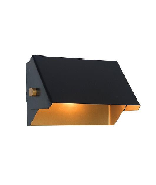 Απλίκα 2φωτη με Led σιδερένια μαύρη/χρυσή 14.5x22x12.5cm Zambelis Lights 17093