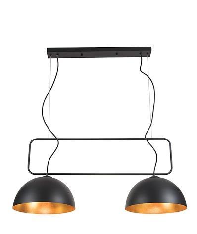 Φωτιστικό οροφής κρεμαστό 2φωτο μεταλλικό μαύρο/χρυσό 70x85cm Zambelis Lights 17092