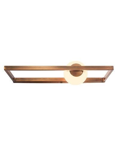 Απλίκα μονόφωτη μεταλλική/οπαλίνα χάλκινη 12x50x22cm Zambelis Lights 17099