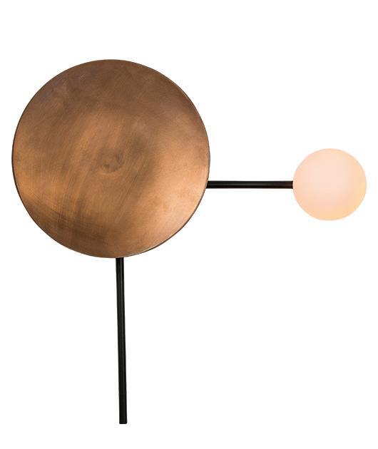 Απλίκα μονόφωτη μεταλλική/οπαλίνα μαύρη/χάλκινη 40x40cm Zambelis Lights 18136