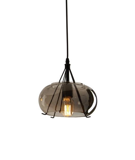 Φωτιστικό οροφής κρεμαστό μονόφωτο γυάλινο γκρι/μαύρο 120x20cm Zambelis Lights 1539