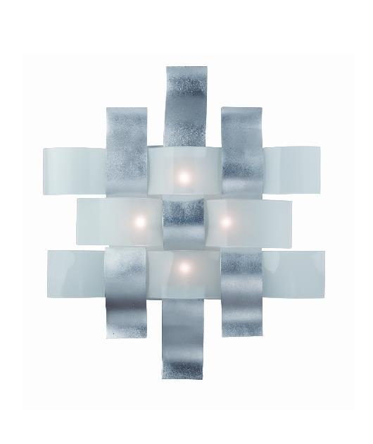 Πλαφονιέρα 4φωτη με Led γυάλινη/μεταλλική ασημί 61×53.5cm Zambelis Lights 1386