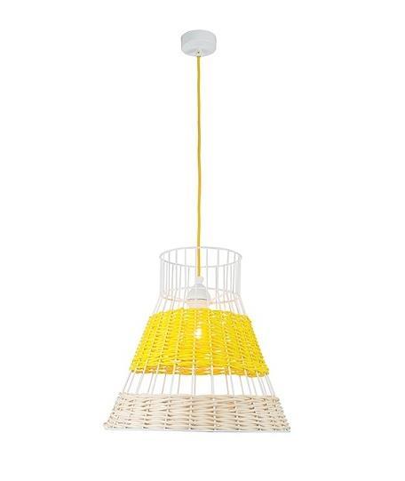 Φωτιστικό οροφής κρεμαστό μονόφωτο Bamboo/σύρμα κίτρινο/λευκό 137x40cm Zambelis Lights 17128