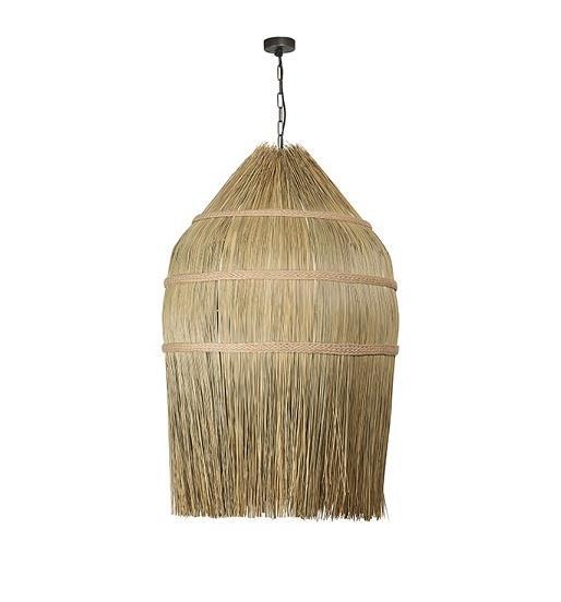 Φωτιστικό οροφής κρεμαστό μονόφωτο απο άχυρα/σχοινί καφέ 150x60cm Zambelis Lights 17129