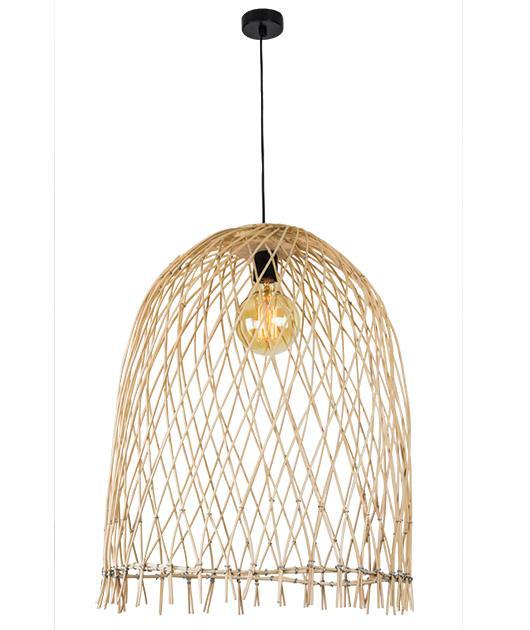 Φωτιστικό οροφής κρεμαστό μονόφωτο Bamboo καφέ 170x55cm Zambelis Lights 18181