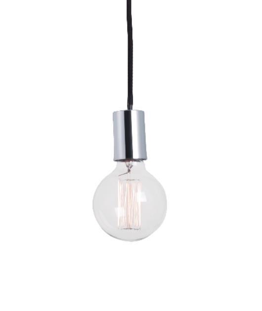 Φωτιστικό οροφής κρεμαστό μονόφωτο χρώμιο/μαύρο 100cm Zambelis Lights 14109-C