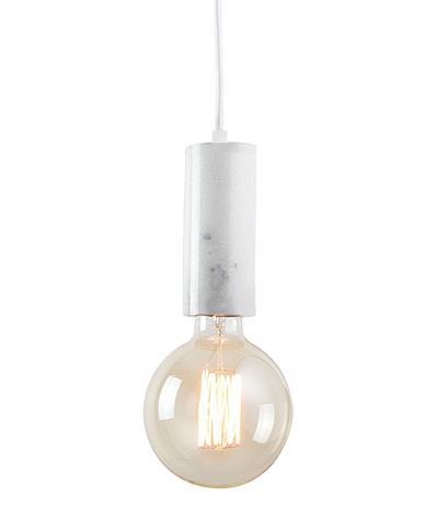 Φωτιστικό οροφής κρεμαστό μονόφωτο μαρμάρινο λευκό 115x6cm Zambelis Lights 17157