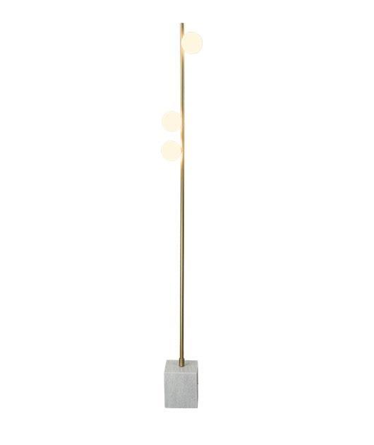 Φωτιστικό επιδαπέδιο 3φωτο μαρμάρινο χρυσό/γκρι 156cm Zambelis Lights 18179