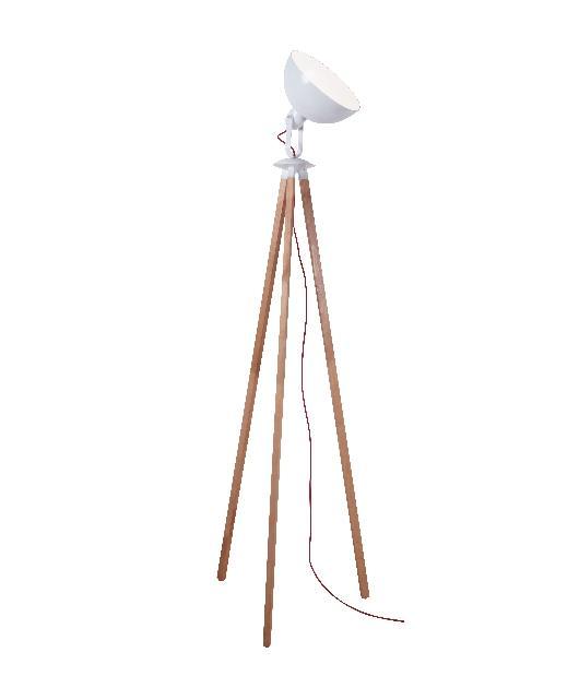 Φωτιστικό επιδαπέδιο μονόφωτο ξύλινο/μεταλλικό λευκό/καφέ 180x55cm Zambelis Lights 1490